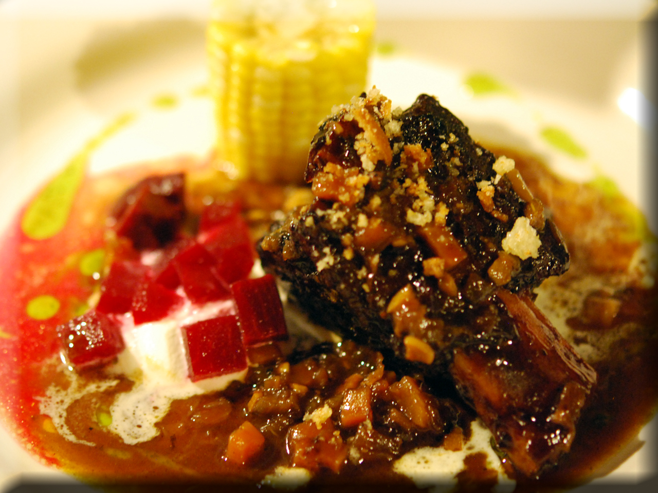 Braised shortrib corn and beet preserve